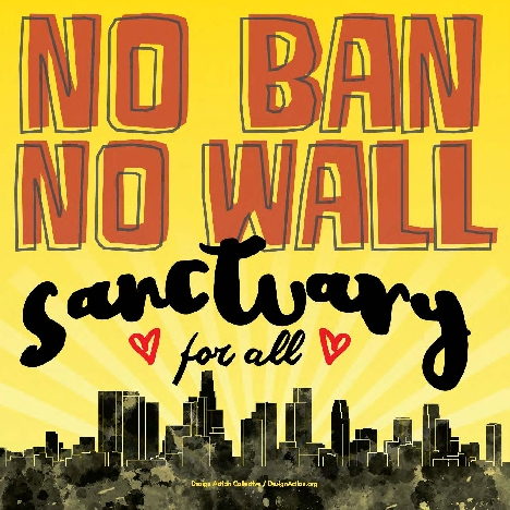 graphic reading :No Ban No Wall: sanctuary for all